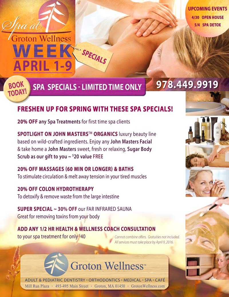 Spa specials at groton wellness april 1 9 groton wellness for Health spa vacation packages